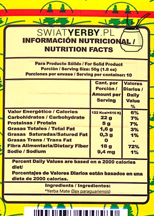 Informacja owartościach odżywczych w50g Colon Seleccion Especial