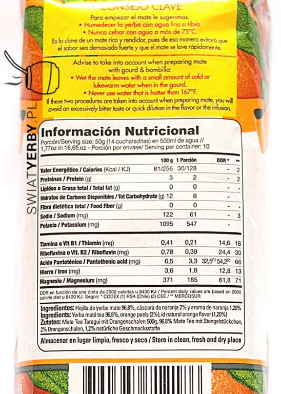 Taragui orange wartosci