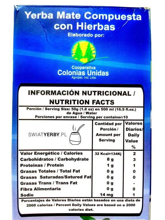 Informacja owartościach odżywczych w50g Colon Compuesta