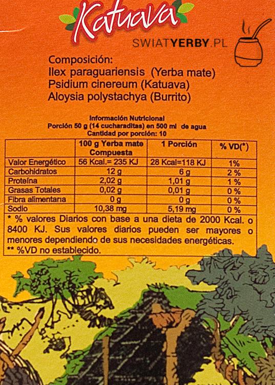 Wartości odżywcze wyerba mate Kurupi Katuava