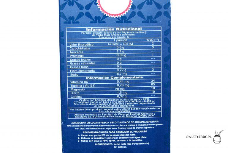 Informacja owartościach odżywczych w50g Amandy Premium