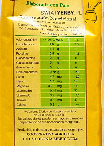 Informacja owartościach odżywczych w50g Playadito Elaborada