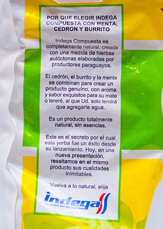 Na opakowaniu Indegi znajdziemy zapewnienia producenta, iż skład yerby jest całkowicie naturalny bezdodatków esencji