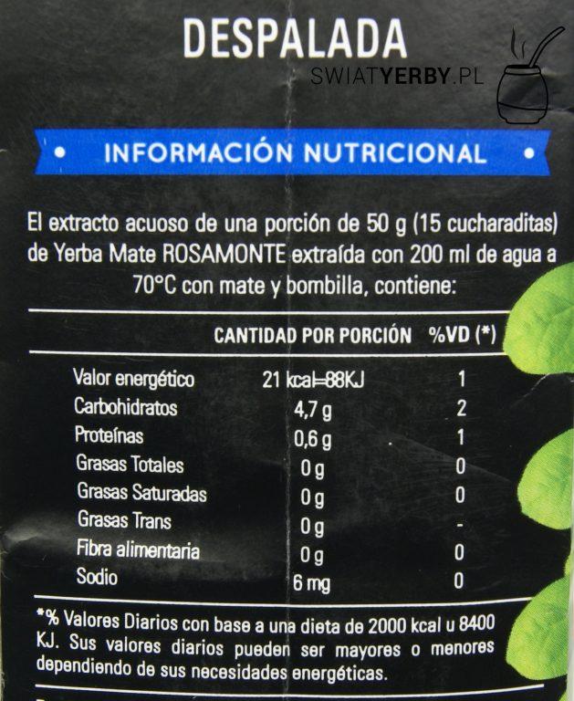 Informacja owartościach odżywczych w50g Rosamonte Despalada.