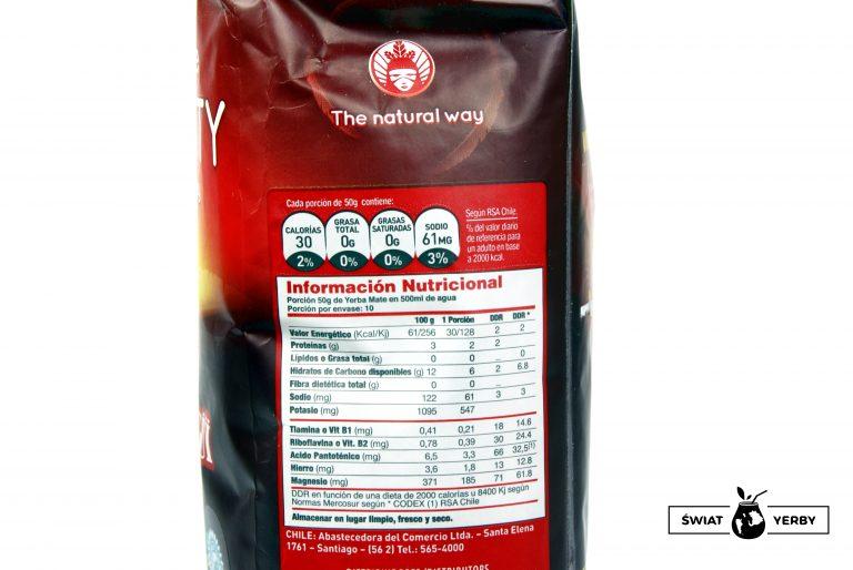 Tabela wartości odżywczych wTaragui Vitality